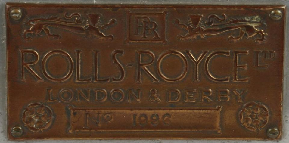 A 1912 Rolls-Royce 40/50Hp chassis plate, number 1996,   ((6))