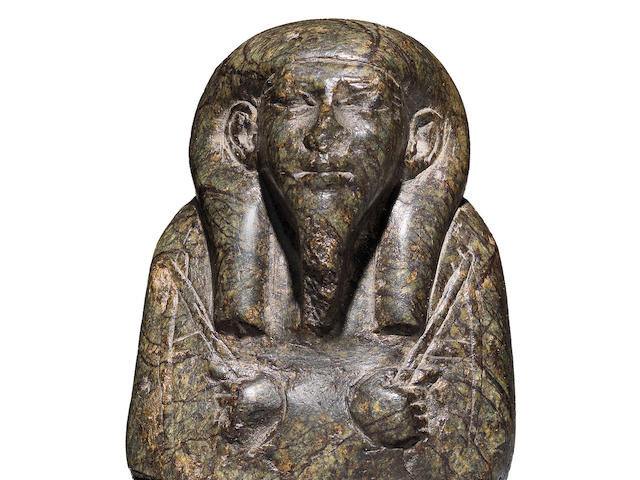 An Egyptian upper part of a serpentine shabti for the Royal Acquaintance Harwa