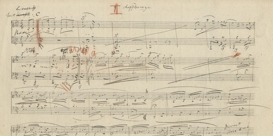 SCHUMANN (ROBERT) Autograph draft of the Fantasiestücke (Fantasy Pieces) for piano, op.12, comprising ʻAufschwung' ('Soaring') in F minor, 'Warum?' ('Why?') in D flat major, 'Grillen' ('Whims') in D flat major, 'In der Nacht' ('In the Night') in F minor, ʻTraumes Wirren' ('Dream's Confusions') in F major and ʻEnde vom Lied' ('End of the Song') in F major; Leipzig, completed 8 July and presented on 7 August 1837