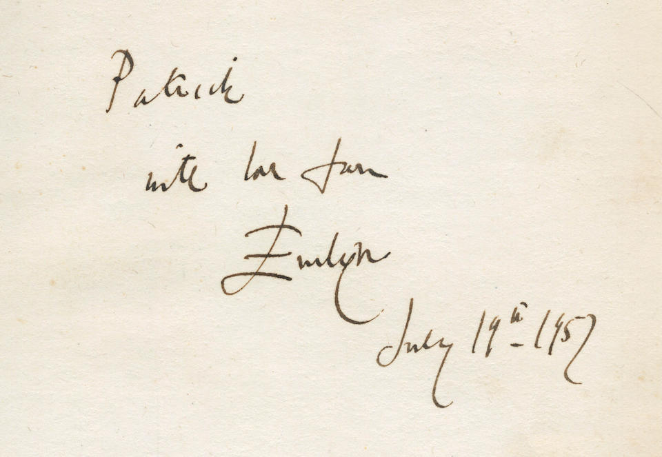 """WAUGH (EVELYN) The Ordeal of Gilbert Pinfold. A Conversation Piece, FIRST EDITION, LARGE PAPER COPY, AUTHOR'S PRESENTATION COPY, INSCRIBED """"Patrick [Balfour] with love from Evelyn, July 19th, 1957"""" on front free endpaper, Chapman and Hall, 1957"""