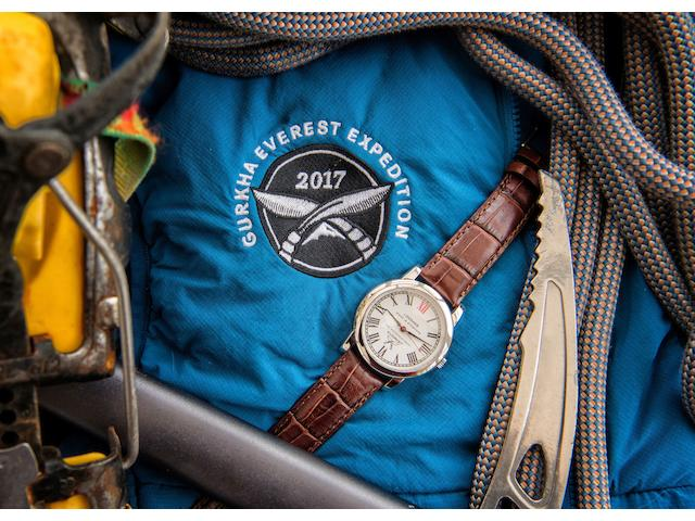 Robert Loomes, Made In Stamford, England. A stainless steel manual wind wristwatch made specially for The Gurkha Welfare Trust  Everest, Made in 2015 for that season's abandoned attempt. Used again in 2017