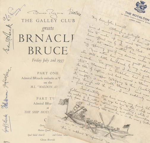 "TYPOGRAPHY, HANDWRITING AND THE GALLEY CLUB ROGERS (BRUCE) [Broadside] The Galley Club greets Brnacle [sic] Bruce. Friday July 2nd 1937.. Admiral Brnacle embarks at Westminster on the M.L. ""Maldon Annie""... sups at the Ship Hotel Greenwich on... Mutton Quads.... 2nd Colour Salad... Cofee, Pott Quarto..., Ginn and Company, 1961, 8vo and small 4to; and 24 others (34)"