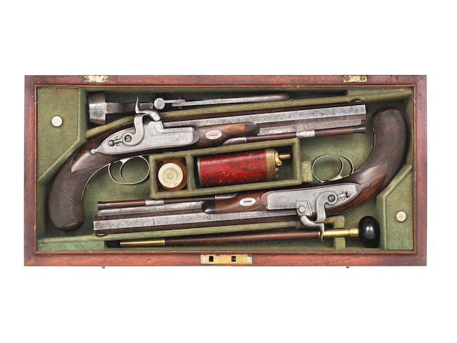 A Fine Cased Pair Of 40-Bore Percussion Duelling Pistols