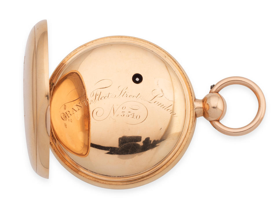 Grant, Fleet Street, London. A fine and historically interesting 18K gold key wind open face chronometer pocket watch used and owned by the explorer James Weddell London Hallmark for 1811