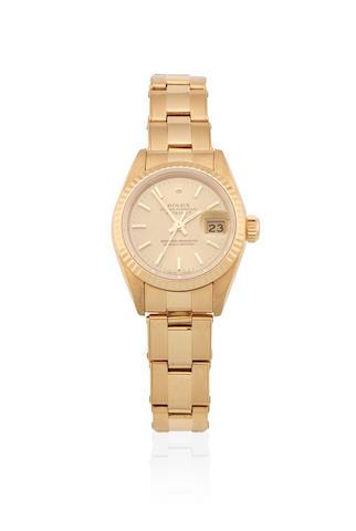 Rolex. A lady's 18K gold automatic calendar bracelet watch   Datejust, Ref: 69178, Circa 1983