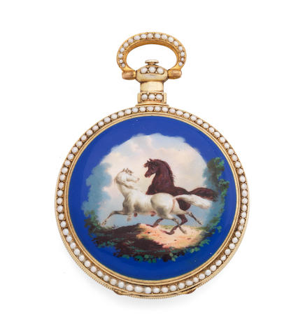 A gilt and enamel key wind open face pocket watch made for the Eastern market Circa 1850