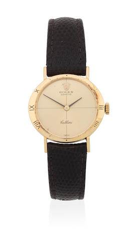 Rolex. A lady's 18K gold manual wind wristwatch  Cellini, Ref: 3809, London Import mark for 1973