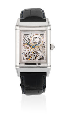 Jaeger-LeCoultre. A Limited Edition platinum skeletonised manual wind reversible rectangular wristwatch  Reverso Platinum Number One, No.285/500, Ref: 270.6.49, Circa 2001