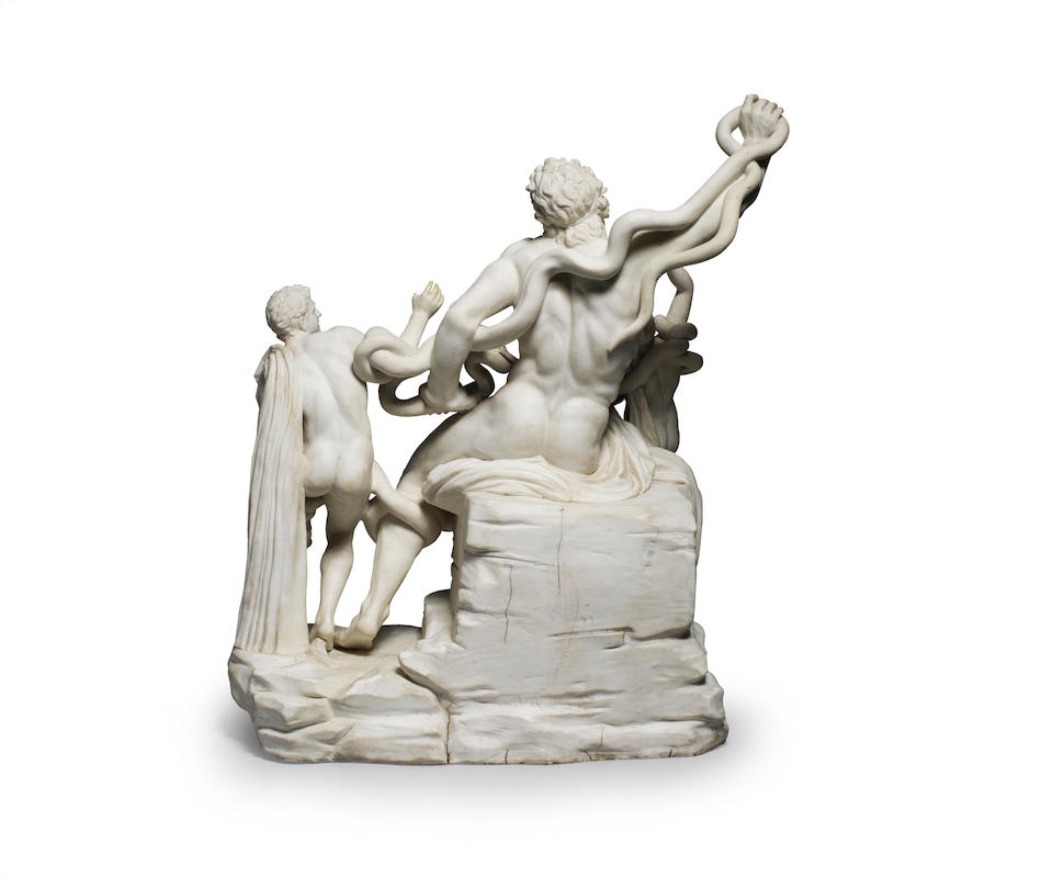 'Il Gruppo del Laocoonte' A very rare and large Naples, Real Fabbrica Ferdinandea, biscuit porcelain model of Laocoon and his sons, circa 1785