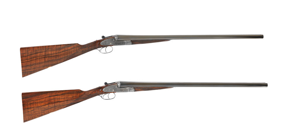 A composed pair of 12-bore 'Royal' sidelock ejector guns by Holland & Holland, no.  23047/8 In a leather motorcase with Holland & Holland trade-label