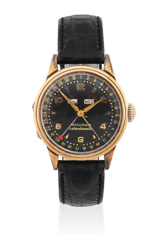 Movado. A stainless steel and gold capped automatic triple calendar wristwatch  Calendomatic, Ref: 16352, Circa 1950
