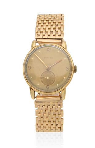 Zenith. An 18K gold manual wind bracelet watch Circa 1950