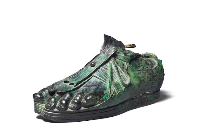 A Roman bronze sandaled foot