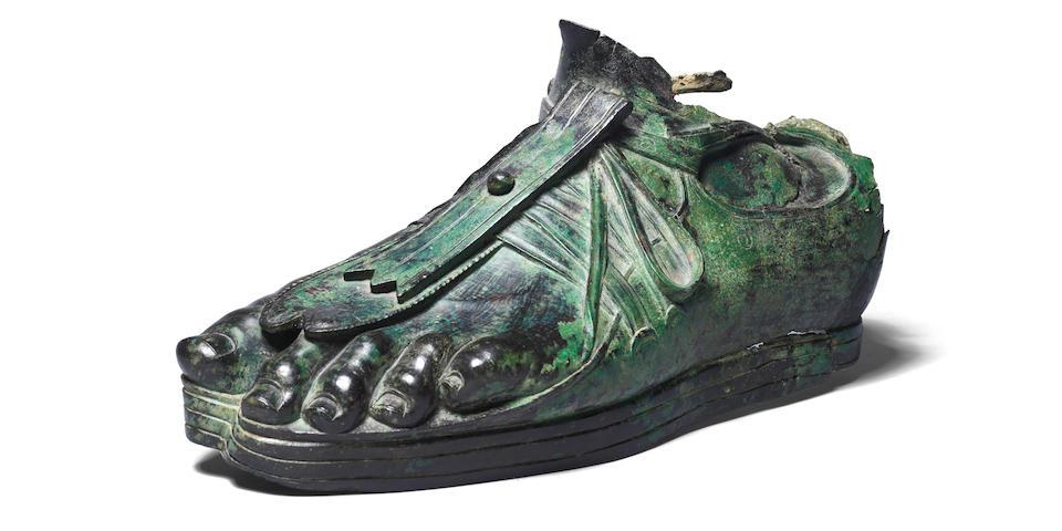 A Roman bronze sandaled foot