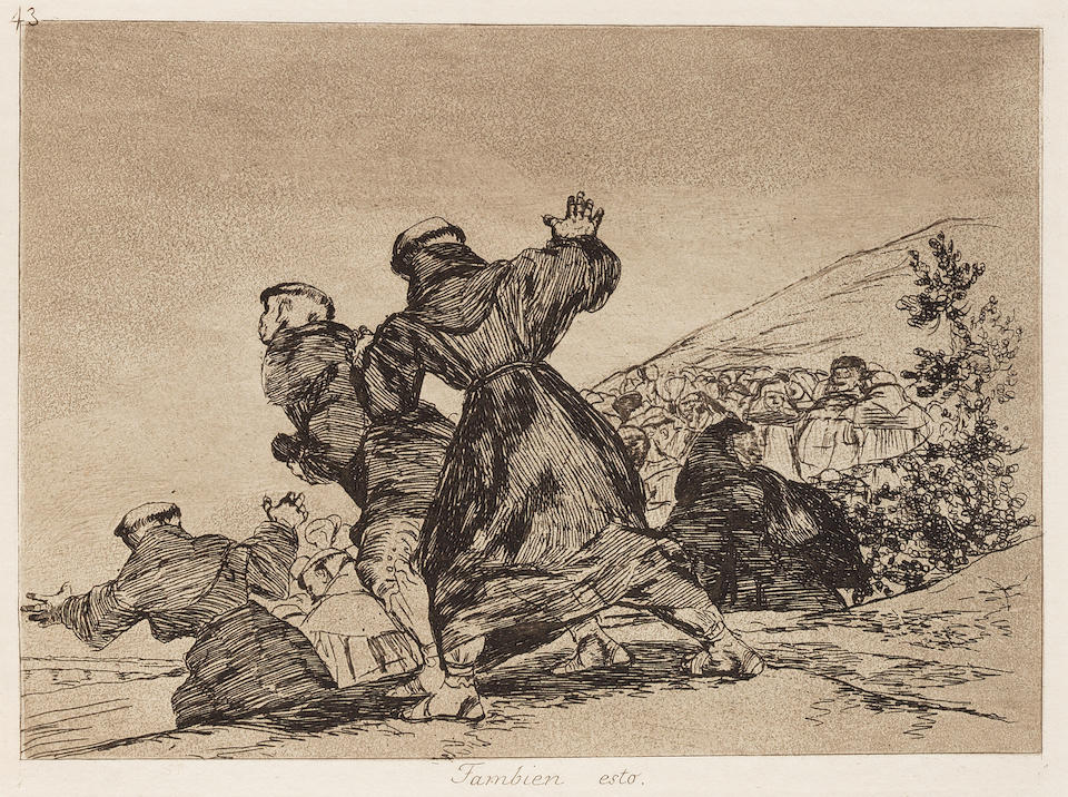Francisco José de Goya y Lucientes (1746-1828) Los Desastres de la Guerra (Disasters of War) The complete set of eighty etchings with burnished aquatint, drypoint and engraving, 1810-20, on heavy, absorbent wove paper, with watermarks J.G.O and a Palmette, fine, early atmospheric impressions, from Harris' First Edition Ia, before corrections to the titles of plates 9, 32, 33, 34, 35, 36, 39 and 47, printed in the workshop of Laurenciano Potenciano, published by the Real Academia de Nobles Artes de San Fernando, Madrid, 1863, all full sheets, in very good condition, bound in the original eight groups of ten impressions with pale pink paper covers numbered in stencil on the front 1 to 8, with the title page and introductory text in the first bound folder, all folders in good conditionPlates 162 x 232mm. (6 5/8 x 9 1/4in.); Sheets 248 x 345mm. (9 7/8 x 13 1/2in.)