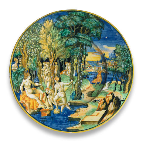 An Urbino maiolica istoriato dish, possibly the workshop of Guido Durantino (Guido Fontana), dated 1541