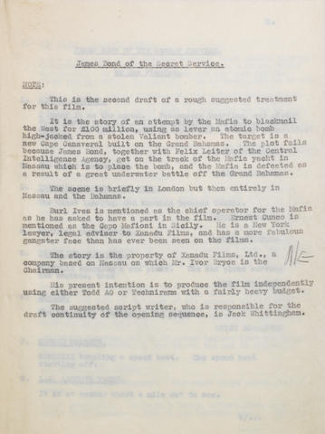 Ian Fleming / James Bond: A second draft treatment carbon copy for 'James Bond Of The Secret Service' from Ian Flemings office, October 1959,