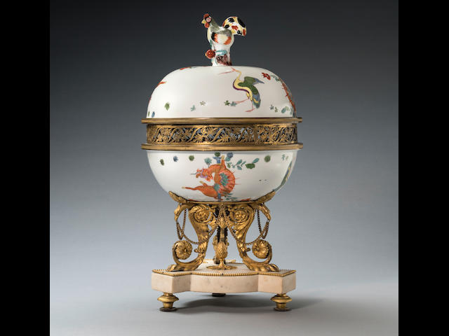 A Meissen porcelain and gilt-metal-mounted centrepiece, the porcelain circa 1730-35