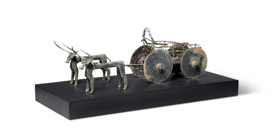 An Anatolian bronze wagon model with oxen