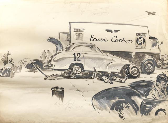 Gordon Horner (British, 1915-2006), 'The Allard Team at Silverstone', an original artwork for The Autocar,