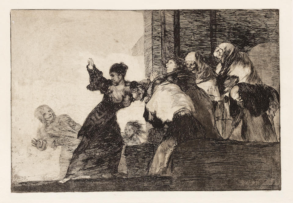 Francisco José de Goya y Lucientes (1746-1828) Los Proverbios (The Proverbs) The complete set of 18 etchings with aquatint and drypoint, before 1824, on heavy wove paper, some with watermarks J.G.O. and a Palmette, fine, richly inked impressions, printing with very good contrasts and highlights, from the First edition of three hundred copies, printed in the workshop of Laurenciano Potenciano, published by the Real Academia de Nobles Artes de San Fernando, Madrid, 1864, with the lithographic title page, the full sheets, generally in very good condition, bound within a late 19th Century calf leather and brown linen-covered boards with the artist's name and title in gilt on the spine Plates 245 x 355mm. (9 3/4 x 14in.); Sheets 333 x 500mm. (13 x 19 1/2in.)  18