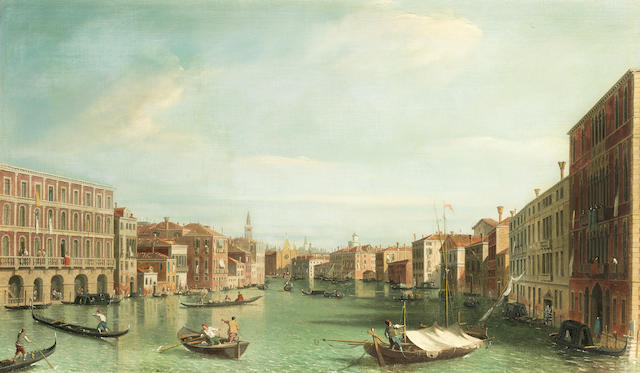 English Follower of Antonio Canal, called il Canaletto, 19th Century The Grand Canal, Venice, looking South from the Palazzi Foscari and Moro-Lin to Sta Maria della Carità