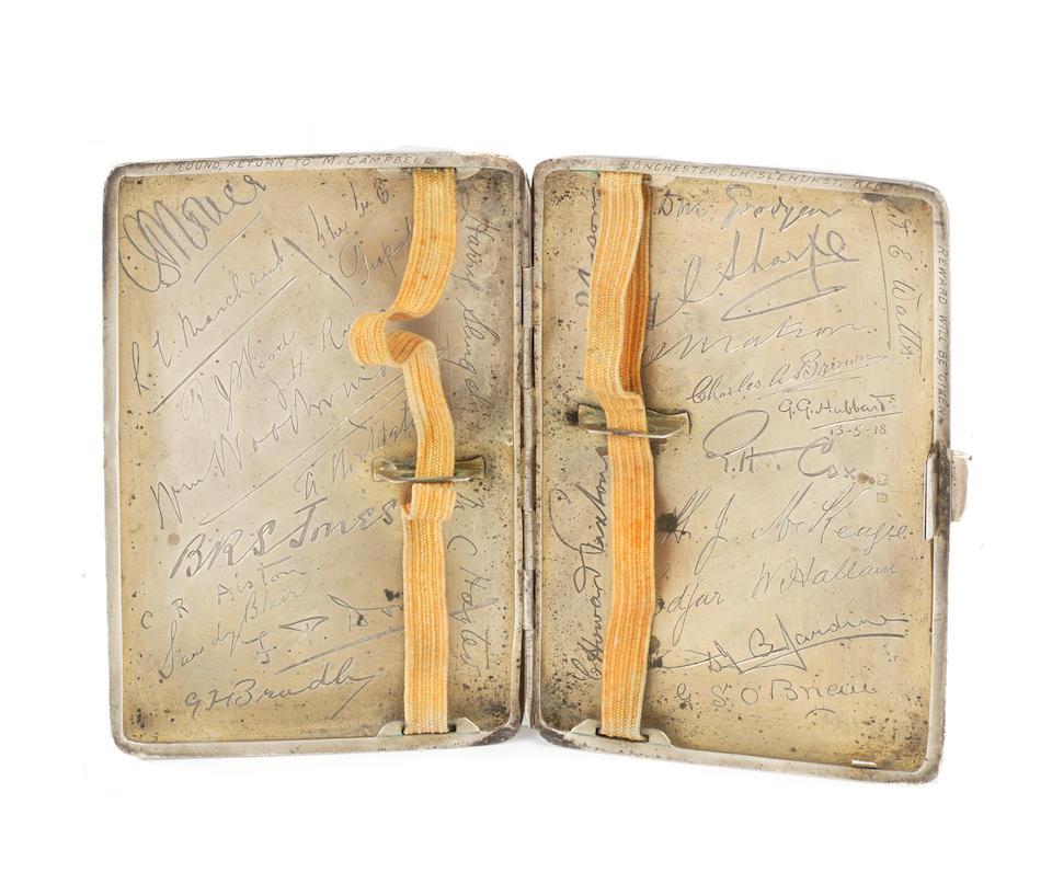 Captain Malcolm Campbell's silver cigarette case, Hallmarked Birmingham 1916,