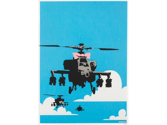 Banksy (British, born 1975) Happy Choppers  Screenprint in colours, 2003, on wove paper, signed and numbered 39/750 in pencil, published by Pictures on Walls, London, the full sheet, in very good conditionSheet 700 x 500mm. (27 1/2 x 19 5/8in.)