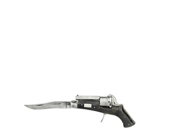 A Liège Combined Pocket Knife And Pin-Fire Six-Shot Revolver Of Small Bore