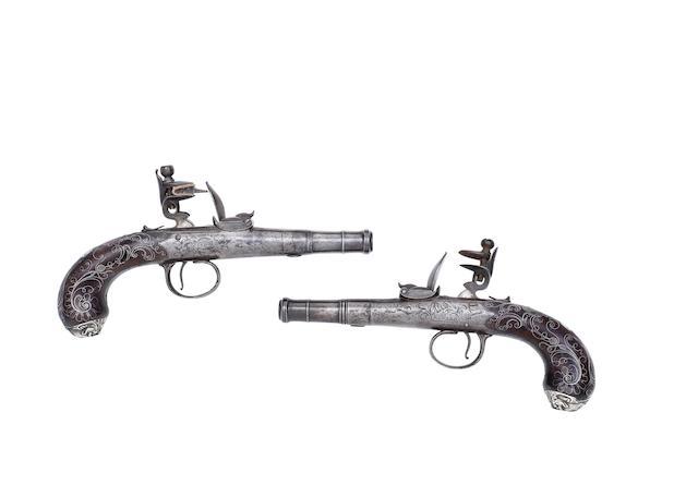 A Pair Of 14-Bore Flintlock Box-Lock Pocket Pistols