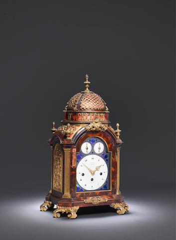 A fine and rare late 18th century ormolu-mounted tortoiseshell musical table clock of small size Markwick, Markham and Perigal, London
