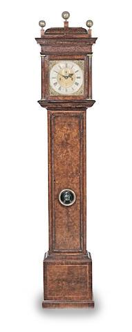 A fine late 17th century burr walnut veneered and feather-banded longcase clock  Daniel Quare, London