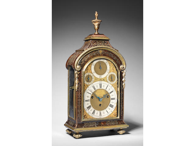An exceptionally rare, early 18th century, boulle-cased musical table clock playing two tunes on 12 bells and 26 hammers with removable tune barrel, and chiming the quarters on a further 6 hammers Daniel Quare and Stephen Horseman, London, number 214