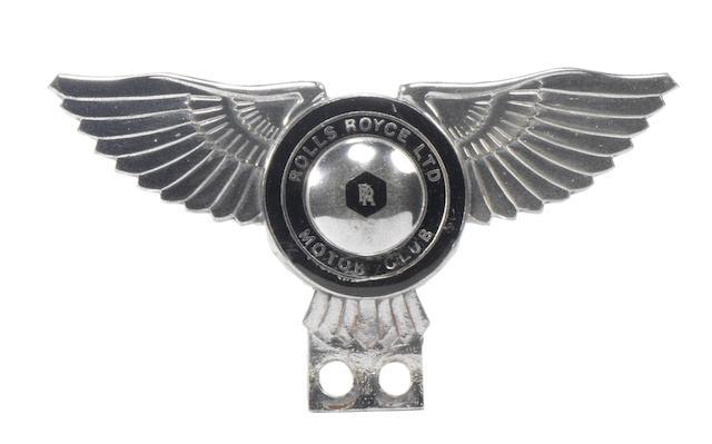 A Rolls-Royce Ltd Motor Club enamelled car badge,