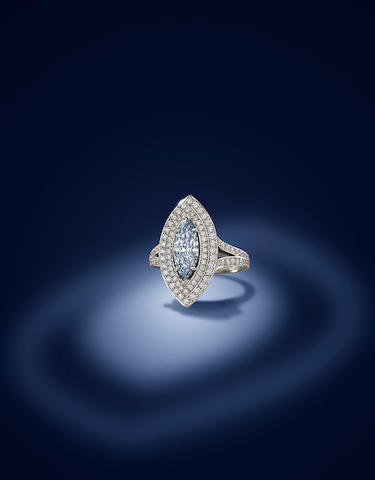 A fancy-coloured diamond and diamond ring, by Boodles