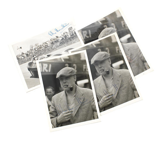 Three signed photographs of Mike Hawthorn,   ((4))