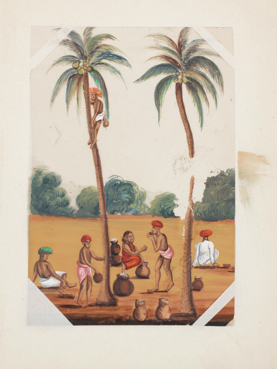 A group of seventeen paintings on mica depicting tradespeople, performers, encampments, Muharram processions, funerals and landscape views  South India, probably Trichinopoly, circa 1830-50