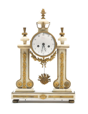 A late 18th / early 19th century French gilt bronze mounted and white marble portico clock the dial signed Piolaine