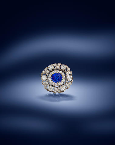 A late 19th century sapphire and diamond brooch
