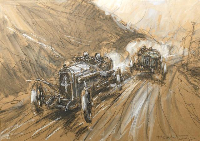 Frederick Gordon Crosby (1885-1943) '1913 Peugeot takes the lead',