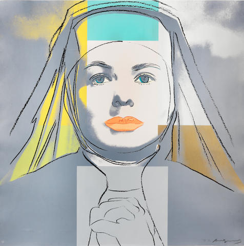 Andy Warhol (American, 1928-1987) The Nun, from Ingrid Bergman Unique screenprint in colours, 1983, on Lenox Museum Board, signed and numbered TP 6/30 in pencil, one of the unique colour combination trial proofs (there were also twenty artist's proofs and the standard edition of 250), printed by Rupert Jasen Smith, New York, with his blindstamp, published by Galerie Börjeson, Malmö, Sweden, with their inkstamp verso, printed to the edges of the full sheet, in good conditionSheet 962 x 962mm. (38 x 38in.)