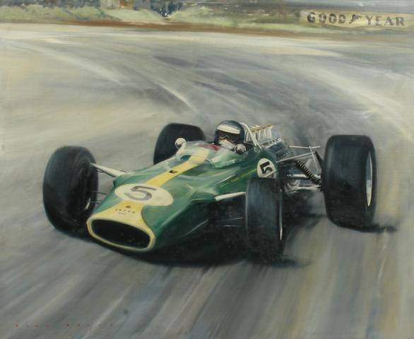 Dion Pears (British 1929-1985), 'Jim Clark - Ford Lotus Climax - British Grand Prix 1965',
