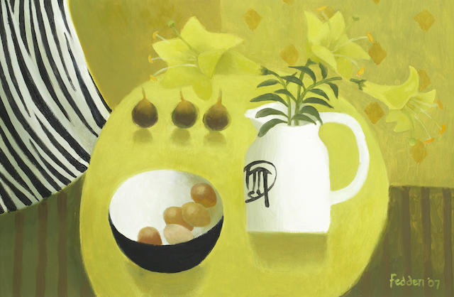 Mary Fedden R.A. (British, 1915-2012) Yellow Lilies