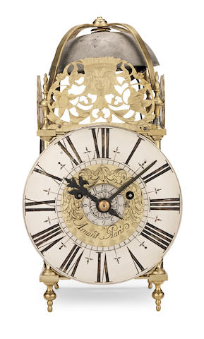 An early 18th century and later lantern clock  The dial and frame by Amant, Paris, circa 1700, the spring driven movement English circa 1900