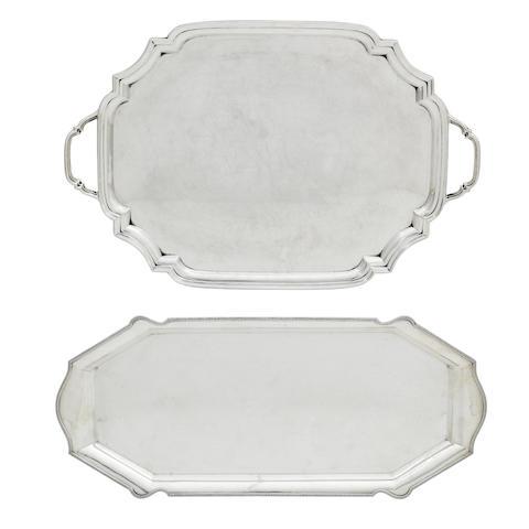 A modern silver twin-handled drinks tray by Adie Bros., Sheffield 1950  (2)