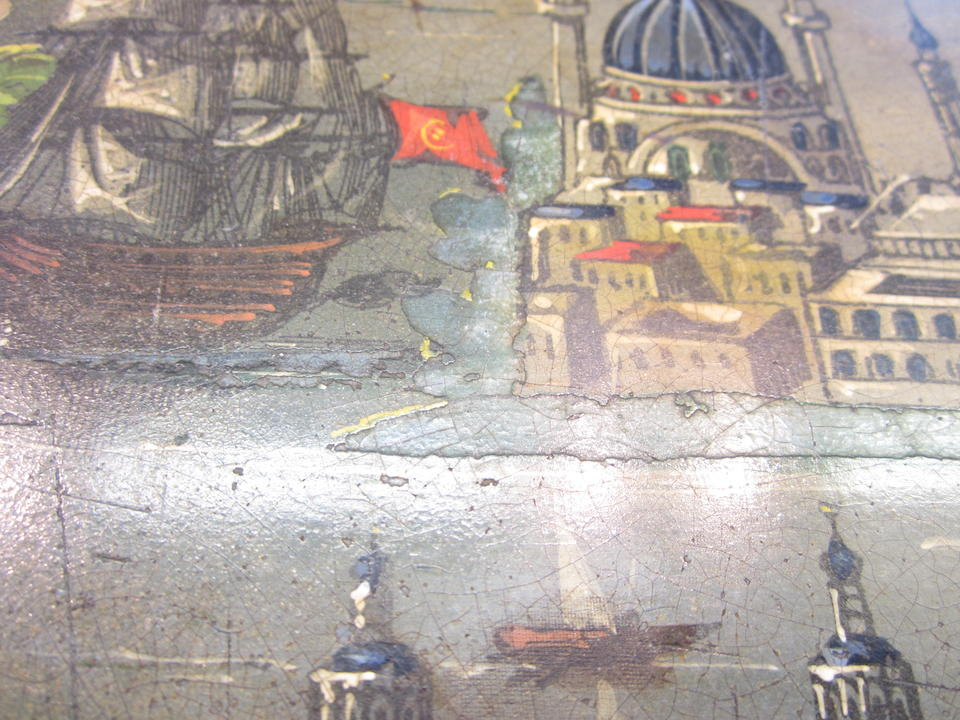 An Ottoman painted tole tray depicting a view of Constantinople Turkey, 19th Century