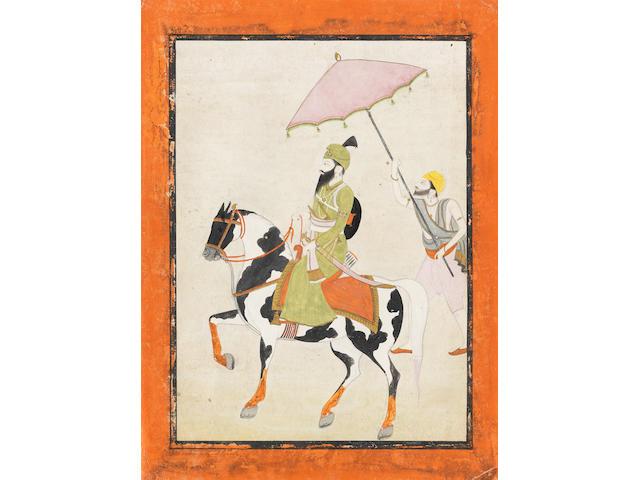 A Sikh nobleman riding a piebald horse, an attendant on foot alongside holding a parasol Punjab, circa 1840