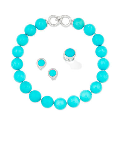 A turquoise and diamond necklace and a turquoise and diamond ring and earring suite (3)