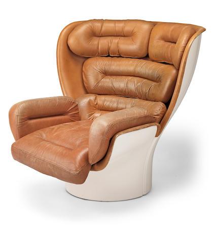 Joe Colombo (Italian,1930-1971), Elda chair designed 1963 for Comfort  Fibre-glass shell, tan leather upholstery