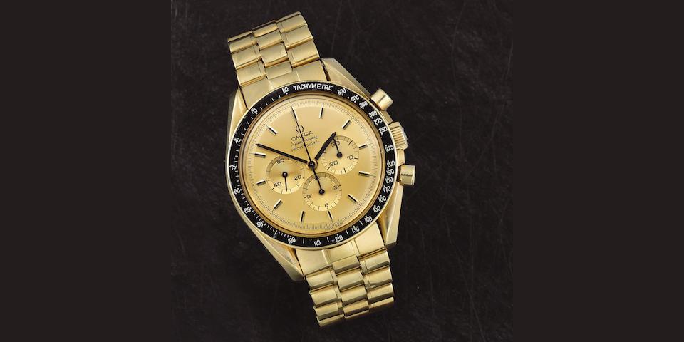 Omega. A fine 18K gold manual wind chronograph bracelet watch  Speedmaster Commemorating the Apollo XI Moonlanding in 1969, Ref: 345.0802, Circa 1980